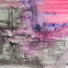 Hot Pink Purple and Black Dripping Abstract by Express Yourself Artshop