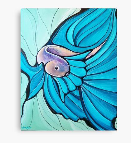 Blue Betta Fish, Illustrated Painting Canvas Print
