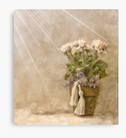 White Roses In The Light Canvas Print