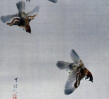 Watanabe Seitei Sparrows Flying by pdgraphics