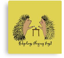 Hedgehogs Playing Pogs  Canvas Print