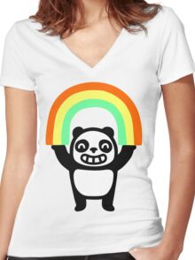Panda Found A Rainbow Women's Fitted V-Neck T-Shirt