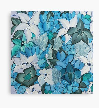 Blue Bouquet Horizon, Flower Painting Canvas Print