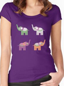 Cheerful elephants Women's Fitted Scoop T-Shirt