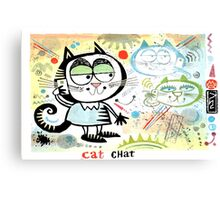 Cartoon cat chatting on mobile phone illustration Canvas Print