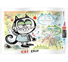 Cartoon cat chatting on mobile phone illustration Poster