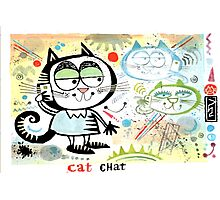 Cartoon cat chatting on mobile phone illustration Photographic Print