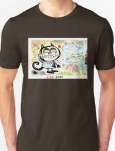 Cartoon cat chatting on mobile phone illustration T-Shirt