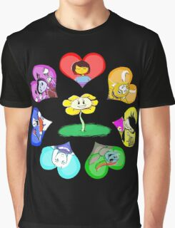 Undertale - Hearts with Characters Graphic T-Shirt