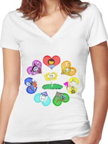Undertale - Hearts with Characters Women's Fitted V-Neck T-Shirt