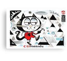 Cartoon cat climbing mountain illustration.  Canvas Print