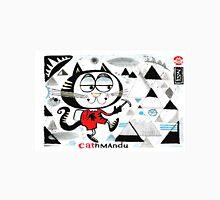 Cartoon cat climbing mountain illustration.  Unisex T-Shirt
