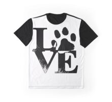 "Cute ""Love"" with Dog pawprint Graphic T-Shirt"