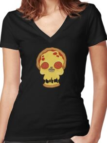 Deadly pizza Women's Fitted V-Neck T-Shirt
