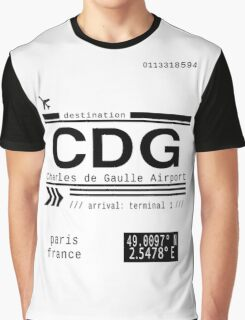 CDG Charles de Gaulle Airport Paris France Call Letters Graphic T-Shirt