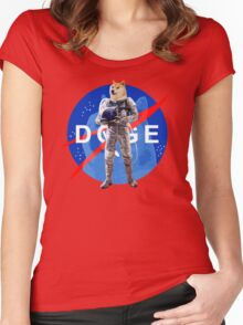 Doge Astronaut In Space Women's Fitted Scoop T-Shirt