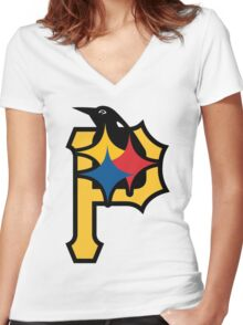 Pittsburgh Pirates Good Logo Women's Fitted V-Neck T-Shirt