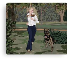And Her Dog Canvas Print