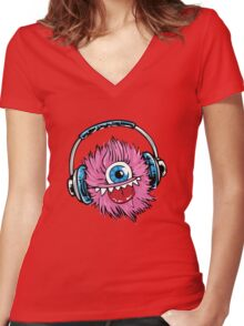 Monster  Women's Fitted V-Neck T-Shirt