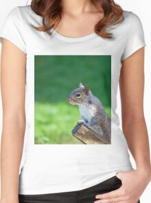 Grey Squirrel head shot Women's Fitted Scoop T-Shirt