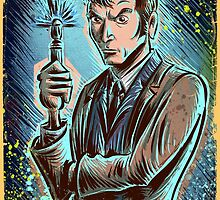 Dr Who David Tennant Art Print the doctor who bbc sci fi tenth doctor 10th time lord travel machine tardis space sonic screwdriver face bo by Joe Badon