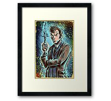 Dr Who David Tennant Art Print the doctor who bbc sci fi tenth doctor 10th time lord travel machine tardis space sonic screwdriver face bo Framed Print
