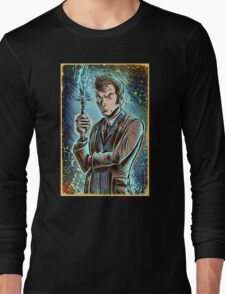 Dr Who David Tennant Art Print the doctor who bbc sci fi tenth doctor 10th time lord travel machine tardis space sonic screwdriver face bo Long Sleeve T-Shirt