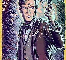 Dr Who Matt Smith Art Print the 11th doctor who BBC British Television Show Series bow tie sonic screwdriver fez joe badon science fiction by Joe Badon