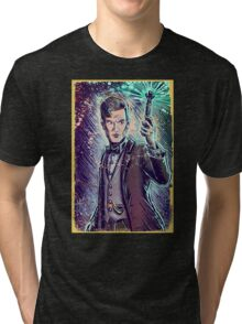 Dr Who Matt Smith Art Print the 11th doctor who BBC British Television Show Series bow tie sonic screwdriver fez joe badon science fiction Tri-blend T-Shirt