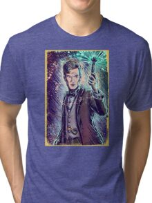Dr Who Matt Smith Art Print the 11th doctor who BBC British Television Show Series bow tie sonic screwdriver fez joe badon science fiction Tri-blend T-Shirt