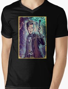 Dr Who Matt Smith Art Print the 11th doctor who BBC British Television Show Series bow tie sonic screwdriver fez joe badon science fiction Mens V-Neck T-Shirt