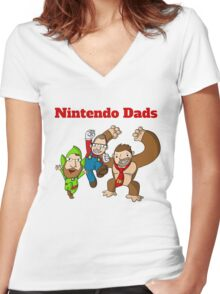 Nintendo Dads Women's Fitted V-Neck T-Shirt