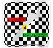 Black and White Check Checkered Flag Motorsports Race Day + Chess Poster