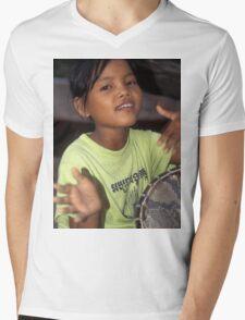 Angkor Wat drummer girl Mens V-Neck T-Shirt