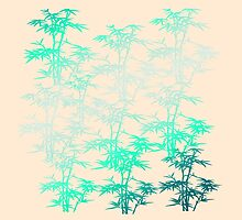Giant Bamboo Grass in Mint Green on Peach Pastel with Variegated Plants by Saburkitty