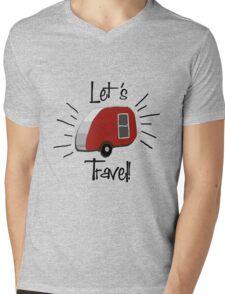 Retro Teardrop Camper  Mens V-Neck T-Shirt