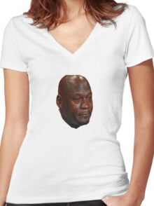 Jordan Crying Women's Fitted V-Neck T-Shirt