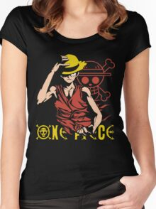 One Piece Monkey D. Luffy, Vector Anime Women's Fitted Scoop T-Shirt