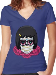 Sugar Skull Tina Women's Fitted V-Neck T-Shirt