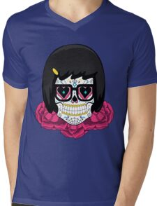 Sugar Skull Tina Mens V-Neck T-Shirt
