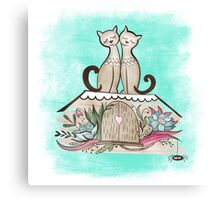 Vintage Cats in Love  Canvas Print