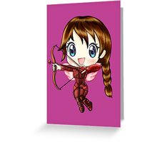 Cupid Katniss- Hunger Games inspired (Love Themed Day Hand-Drawn Illustration) Greeting Card
