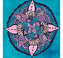 Boho blue pink floral watercolor hand drawn mandala  Photographic Print