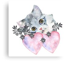 kitten and heart   Canvas Print