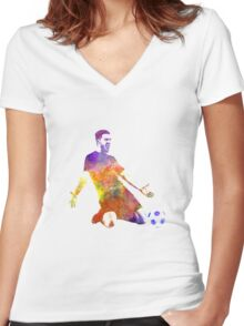 man soccer football player 13 Women's Fitted V-Neck T-Shirt