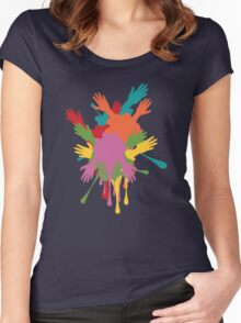 Cartoon Hands with Gestures 3 Women's Fitted Scoop T-Shirt