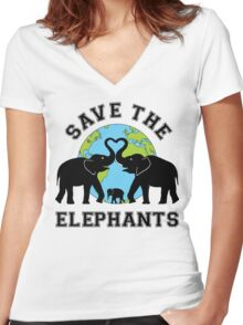 Save the elephant Women's Fitted V-Neck T-Shirt