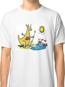 Cartoon kangaroo fishing with harpoon at beach Classic T-Shirt
