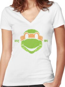 Legendary Turtles - Mikey Women's Fitted V-Neck T-Shirt