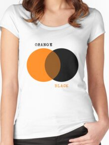 Orange & Black - Venn Diagram Women's Fitted Scoop T-Shirt